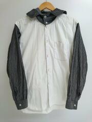 フード付き切替し長袖シャツ/S/コットン/ホワイト/W20063