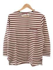 タグ付/ロンT/長袖Tシャツ/2/コットン/ブラウン/ボーダー/06-6226-8125