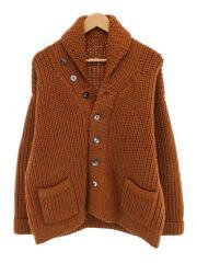 Shawl Collar Knit Cardigan/ヘチマ襟/太い羊毛/L/ウール/ブラウン