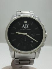 クォーツ腕時計/アナログ/ステンレス/BLK/AX2504/キズ有