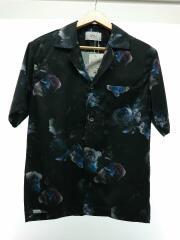 半袖シャツ/1/花柄/109302006/オープンカラーダークフラワーアロハシャツ/開襟