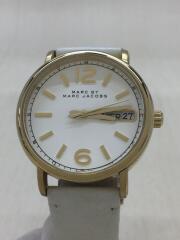 White Leather Quartz Watch/クォーツ腕時計/アナログ/ゴールド/MBM8653