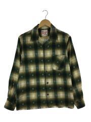 長袖シャツ/L/コットン/グリーン/チェック/オープンカラー/樹脂ボタン