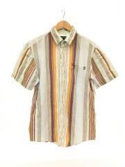 半袖シャツ/L/コットン/ブルー/ストライプ/C100