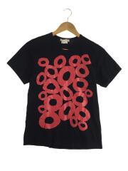 Tシャツ/S/コットン/ブラック/サークルプリント/ショートスリーブカットソー