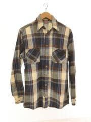 長袖シャツ/80s/胸ポケットリペア痕有/袖汚れ/ネルシャツ/M/コットン/ブルー/チェック