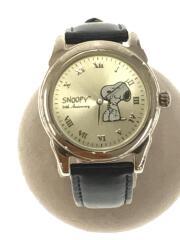 クォーツ腕時計/アナログ/レザー/GLD/BLK