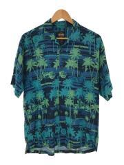 半袖シャツ/M/--/ブルー/総柄/オープンカラー/アロハシャツ