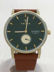FALKEN/スモセコ/クォーツ腕時計/アナログ/レザー/GRN/FAST112