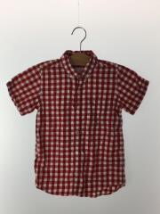 半袖シャツ/120-128cm/コットン/RED/チェック