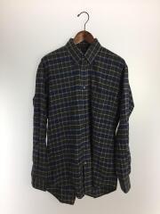 17AW/フランネル長袖ビッグシャツ/38/コットン/NVY/チェック/486047 TWB15