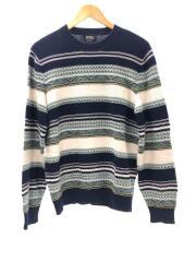 セーター(薄手)/L/コットン/BLU