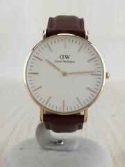 クォーツ腕時計/アナログ/レザー/白/ブラウン/CLASSIC/