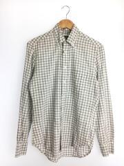 長袖シャツ/S/コットン/グレー/チェック/ボタンダウンシャツ