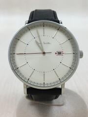 P10084/クォーツ腕時計/アナログ/レザー/シルバー/ブラック/TRACK