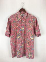 半袖シャツ/--/コットン/レッド/総柄/ヌードタグ/70S