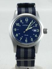 クォーツ腕時計/アナログ/ネイビー/KHAKI DATE/ハミルトン/箱有り/