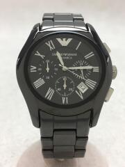 エンポリオアルマーニ/クォーツ腕時計/アナログ/クロノグラフ/BLK/AR-1400