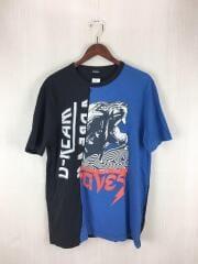 ディーゼル/Tシャツ/コットン/ブルー/ブラック/バイカラー/