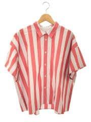 タグ付/半袖シャツ/コットン/レッド/グレー/ストライプ