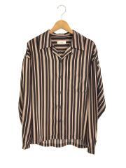 マルチストライプ/オープンカラーシャツ/長袖シャツ/L/ポリエステル/ブラック/リドム