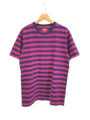 17SS/Bar Stripe Tee/ボーダー/Tシャツ/M/コットン/パープル/ネイビー
