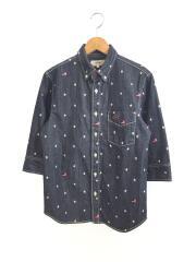 star print shirt/七分袖シャツ/S/デニム/インディゴ/トミー