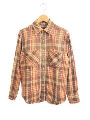 70s/ネルシャツ/M/コットン/ブラウン/チェック/JCPenney/ビッグマック