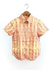 03SS/刺繍/TI-B043/半袖シャツ/M/リネン/ベージュ/総柄/トリココムデギャルソン