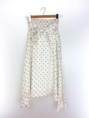 ロングスカート/1/リネン/WHT/ドット/09WFS181008/リネンフレアスカート