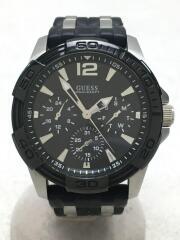 クォーツ腕時計/アナログ/ラバー/BLK/BLK/W0366G1/Multi-function