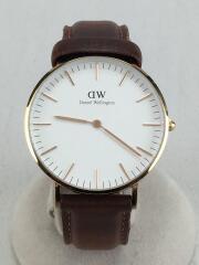 腕時計/アナログ/レザー/WHT/BRW/DW00100111-GD/クラシック ダラム