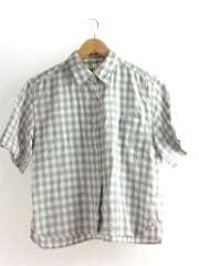 15年★ 麻 綿混 シャツ ブロックチェック 半袖ブラウス/1/リネン/GRY/ギンガムCK