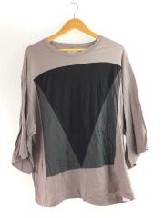 7分袖 ビッグスリーブ カットソー/2/切り替え 幾何学 パープルグレー Tシャツ
