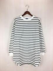 長袖Tシャツ/M/コットン/KHK/ボーダー/312-05-0215-6894