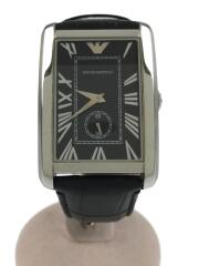 クォーツ腕時計/アナログブラック/レザー
