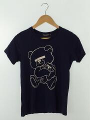 NEU BEAR/Tシャツ/XS/コットン/NVY/プリント/目隠し