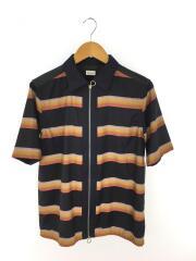 レインボーブルゾンシャツ/半袖シャツ/L/ウール/マルチカラー/ストライプ