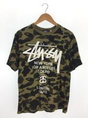 ×BAPE/30周年記念/サルカモ/ワールドツアーTシャツ/M/コットン/GRN/カモフラ
