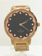 ケイトスペードニューヨーク/クォーツ腕時計/アナログ/ステンレス/BLK/GLD