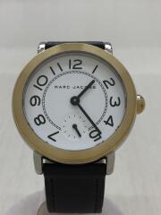 クォーツ腕時計/アナログ/レザー/ホワイト/ブラック/MJ1514
