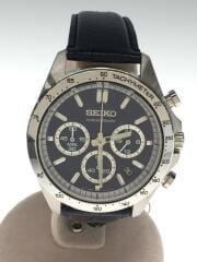 クォーツ腕時計/アナログ/レザー/ネイビー/8T63-00D0/スピリット/クロノグラフ