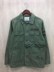 長袖シャツ/4/コットン/カーキ/ジャケット/ミリタリー/グラフィティ/プリント/BM1709YG02
