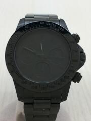 クォーツ腕時計/アナログ/ステンレス/BLK/BLK/黒