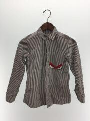 長袖シャツ/--/コットン/WHT/ストライプ/ホワイト×ブラック