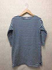 7分袖ワンピース/コットン/BLU/ブルー×ホワイト/ボーダー