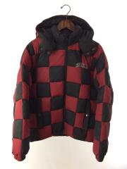ダウンジャケット/19AW/Checkerboard Puffy Jacket/S/ポリエステル/RED/チェック