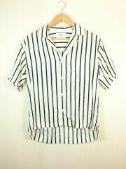 半袖シャツ/0/ポリエステル/ホワイト/ストライプ/オープンカラーシャツ/207201004/開襟/