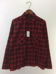 オープンカラー/カットオフ/チェックネルシャツ/長袖シャツ/M/コットン/レッド/ブラック/チェック