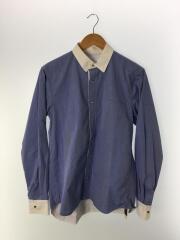 長袖シャツ/1/コットン/ブルー/無地/デザイナーズ/シャツジャケット/14-00699M/胸ポケ